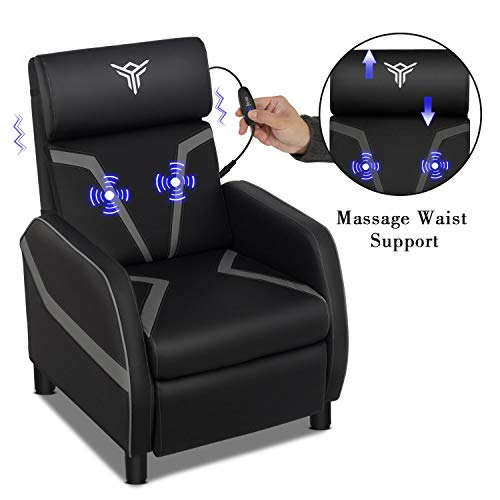 Massage Gaming Recliner Chair with Footrest Racing Style, Single Ergonomic Lounge Sofa Modern PU Leather Reclining Home Theater Seating for Living & Gaming Room (Grey)