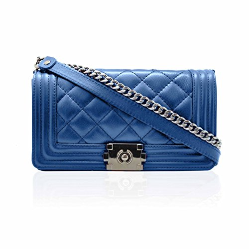 Malelass�� Italy shoulder in Blue Made Italian leather mini Quilted soft Cobalt crossbody nickel bag chain dark SHANA AExv6qw