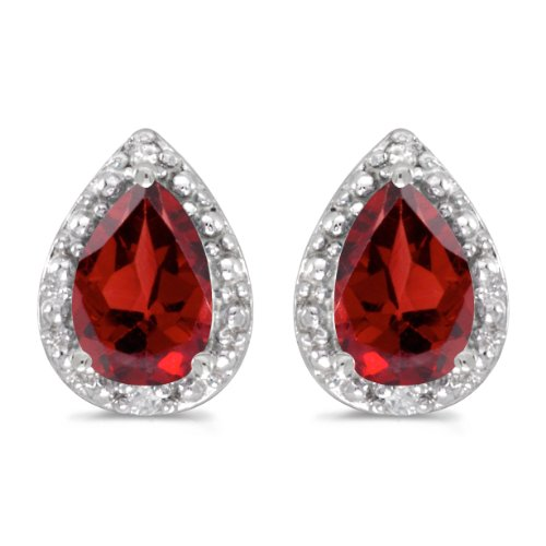 Diamond January Birthstone Earrings (14k White Gold Pear Garnet And Diamond Earrings)