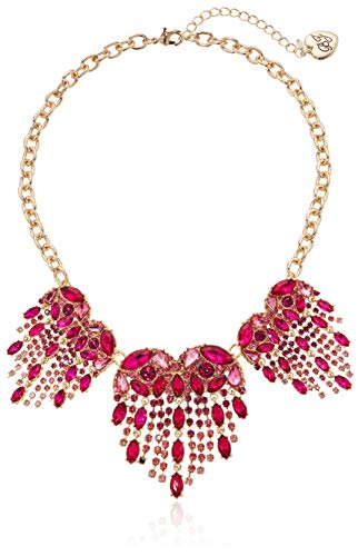 Betsey Johnson Women's Heart Stone Fringe Frontal Necklace, Pink, One Size