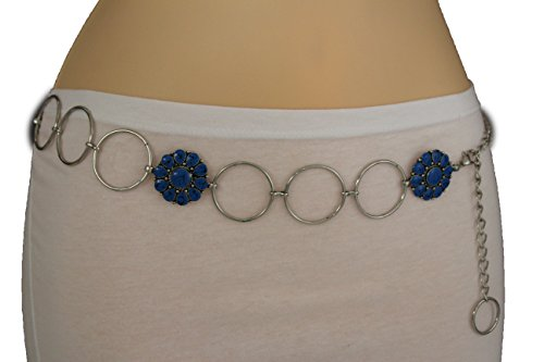 TFJ Women's Fashion Belt Hip High Waist Blue Beads Charms Silver Metal Chain Xs S M (Link Hip Belt)