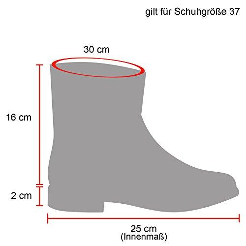 Stiefelparadies Damen Schlupfstiefel Wildleder-Optik Stiefel Schnallen Schuhe Boots Gefütterte Stiefeletten Flandell Schwarz Schwarz