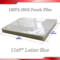 100Pk 5Mil 9x12 Letter Size Clear Laminating Pouch Film Thermal Hot Lamintor