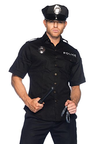 Male Policeman Costume (Leg Avenue Men's 4 Piece Policeman Costume, Black, Medium / Large)