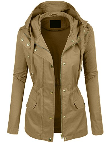 LE3NO Womens Lightweight Cotton Military Anorak Jacket with Hoodie ()