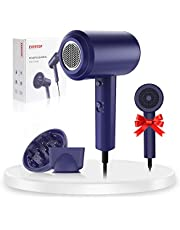 Ionic Hair Dryer, 1800W Professional Salon Blow Dryer, Powerful AC Motor&Negative Ion Technology, with 3 Cool/Heat Settings, 2 Concentrator Nozzles and 1 Diffuser, for Women Man Kids Hair Care