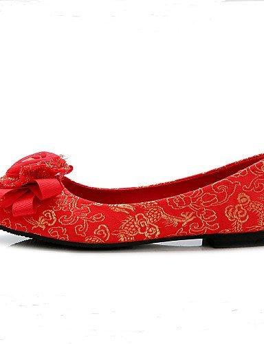 Heels Ballerina Zehe Damen Geschlossene 1in Rot Hochzeit High Hochzeitsschuhe under Rundeschuh ShangYi qR0acTwa