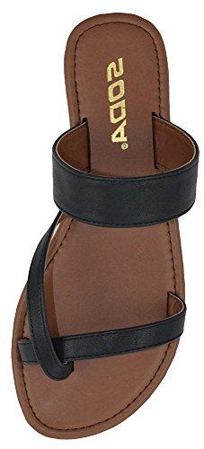 Soda Shoes Women Flip Flops Flat Summer Basic Sandals Thongs DEPUTY (6.5 M, Black)