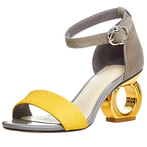 Azbro Mujer Sandalias de Tacón Extraño con Corea Tobillo Puntera Abierta Amarillo