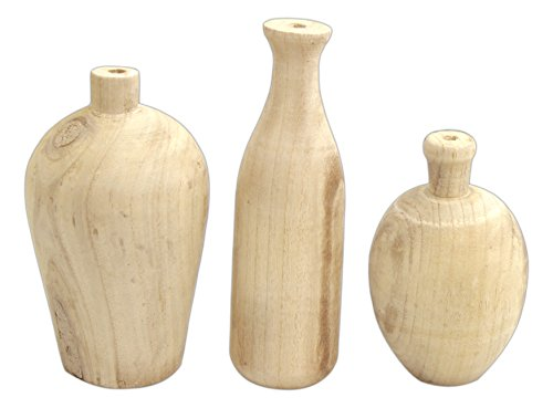 Set of 3 Creative Co-Op Paulownia Wood Vases, Beige, 9.5