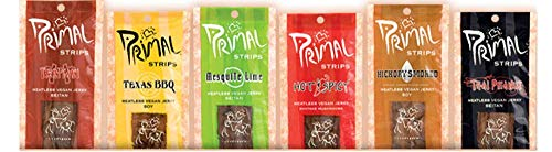 Primal Strips Meatless Vegan Jerky-Variety Gift Pack Sampler; 24 Assorted 1 Ounce Strips - 6 flavors (4 of each flavor)