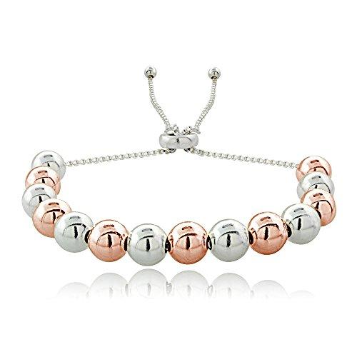 Sterling Silver w/ Rose gold 6mm Bead Adjustable Bracelet ()