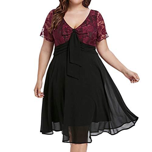 (Goddessvan Women Sexy Plus Size Lace Dress V-Neck Bow Knot Lace up Short Sleeve A-line Dress Black)