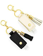 Kaffrey 1 & 2 oz. Genuine Leather Hand Sanitizer Holder; Travel Size Key Chains; Keychain Accessories For Purse, Backpack, Diaper Bag; Refillable Plastic Containers For Lotion, Shampoo, Soaps