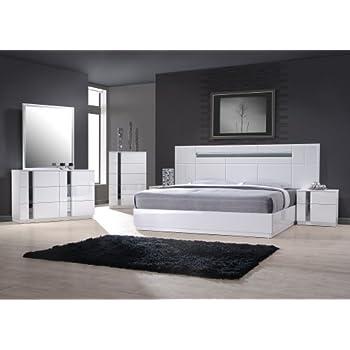 J&M Furniture 17853-K Palermo King Size Bedroom set - White Lacquer & Chrome