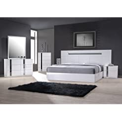 Bedroom J&M Furniture Palermo White Lacquer With Chrome Accents Queen Size Bedroom Set modern bedroom furniture sets