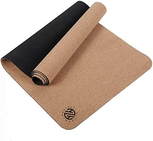 Hautest Health Cork and Natural Rubber Yoga Fitness Pilates Mat Sustainable with Strap Biodegrable Eco-Friendly Green Antimicrobial
