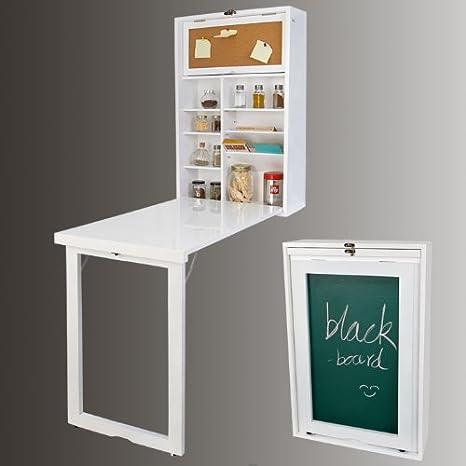 SoBuy Wand-Klapptisch, Küche & Esszimmer Massiv Holz Tisch Schreibtisch  Integrierter Regal mit Memoboard fwt08-w weiß