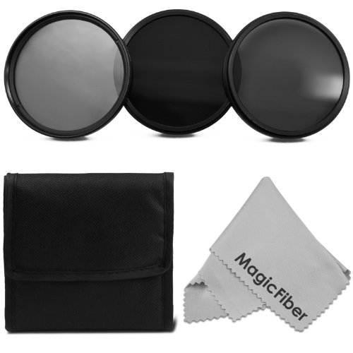 67MM ND Neutral Density Professional Filter Set (ND2 ND4 ND8) + Premium MagicFiber Microfiber Cleaning Cloth