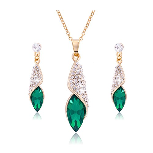 Gold Rhinestone Jewelry Set (Jane Stone Fashion Gold Rhinestone Jewelry Set Emerald Crystal Teardrop Wedding Necklace and Dangle Earrings for Women)