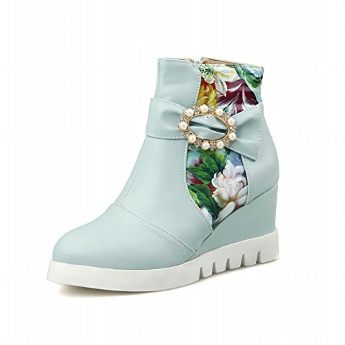 Latasa Womens Fashion Floral Beaded Platform Ankle-high Wedge Boots Blue 6gMfgz2Kaa