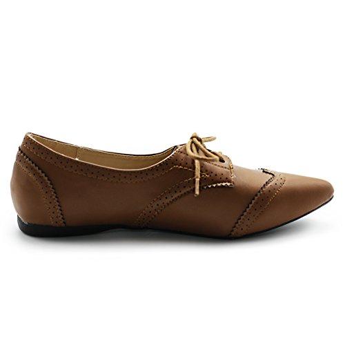 Ollio Shoe Brown Toe Enamel Women's Ballet Oxford Pointed Flat rAqaHrxw