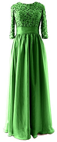 MACloth Women Half Sleeve Lace Long Mother of Bride Dress Formal Evening Gown Verde