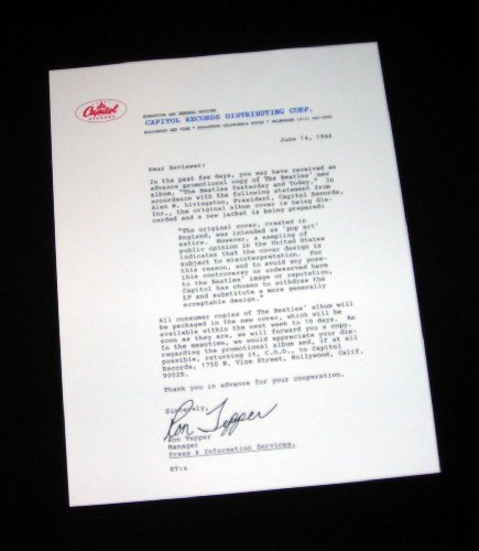 (The Beatles 1966 Butcher Cover RECALL Letter From Capitol Records Reproduction)