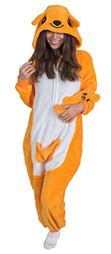 Adult Onesie Kangaroo Animal Pajamas Comfortable Costume with Zipper and Pockets (Large, Plush)]()