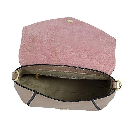 cuir hexagone Sac en central bandoulière bicolore Moretti avec Taupe pochette Laura AUwqxX84