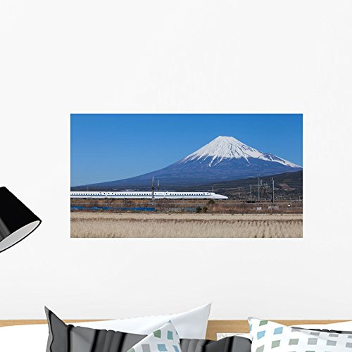 Wallmonkeys WM361374 Bullet Train Tokaido Shinkansen with View of Mountain Fuji Peel and Stick Wall Decals (24 in W x 13 in H), Medium Bullet Train Mount Fuji Japan