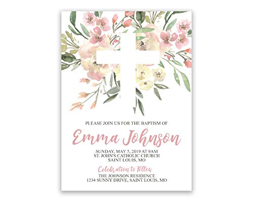 Floral First Communion | Religious Personalized | Invitations