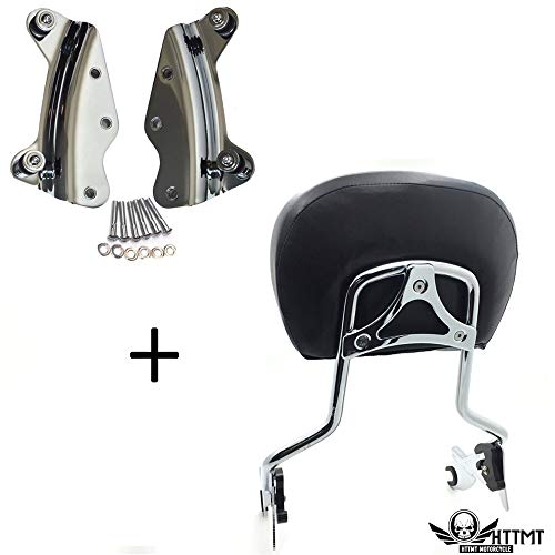 - HTTMT- TGHD-DH001+501-005+T- Chrome Backrest Sissy Bar pad Docking Compatible with 14-19 Harley Touring Road King Screamin Eagle