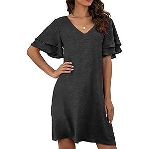 BELONGSCI Women's Dress Sweet & Cute V-Neck Bell Short Sleeve Shift Dress Short Dress with Big Pocket