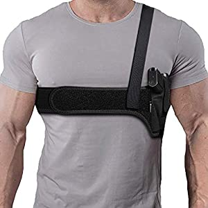 Deep Concealment Shoulder Holster, Universal Underarm Gun Holster for Men and Women, Fits Subcompact and Compact Pistols for S&W Bodyguard, M&P Shield 9mm, Glock 19 26 42 43, Ruger LCP, LC9, Sig P365