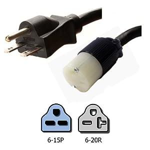 nema 6 15p to 6 20r plug adapter 1 foot 15a. Black Bedroom Furniture Sets. Home Design Ideas