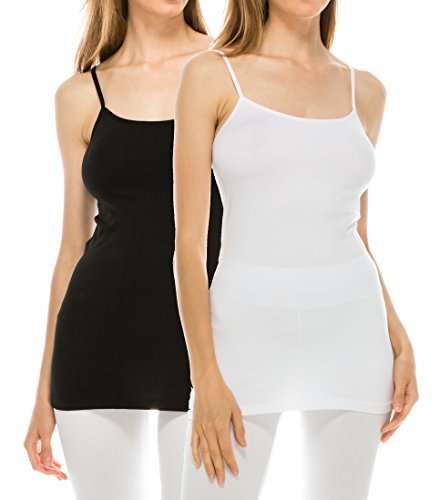 EttelLut Adjustable Spaghetti Strap Seamless Basic Plus Size Camisoles for Women Tank Tops Pack Black White (Spandex Spaghetti)