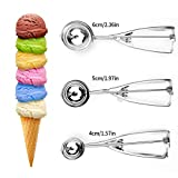 Cookie Scoops Set of 3 Different Sizes,Besmon Professional 18/8 Stainless Steel Ice Gream Scooper Large Medium Small(Cookie Scoop for Baking with Comfortable Handle) Metal Ice Cream Scoop Set of 3
