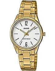 ساعة رسمية ستانلس ستيل من كاسيو للنساء، ذهبي - LTP-V005G-7BUDF