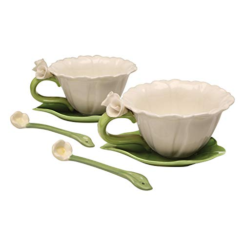 Cg SS-CG-10397, White Daisy Shaped 6-pc Set with 2 Cups, Saucers and Spoon Collectible