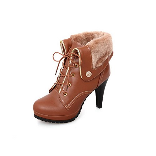 BalaMasa Ladies Button Platform Bandage Imitated Leather Boots Brown lsfeGfJfQ