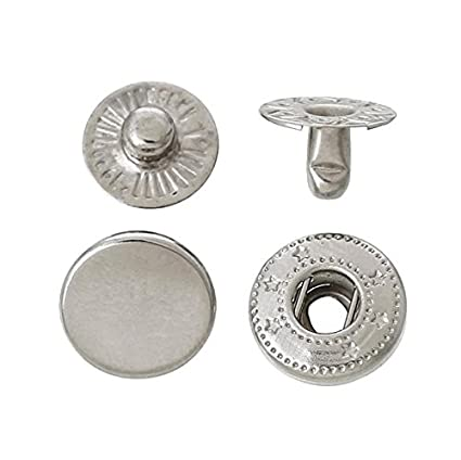 120 Sets 10mm Metal Snap Fasteners Press Stud Rounded Sewing Rivet Buttons  Clothing Leather Craft DIY Poppers Silver
