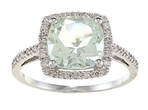 Instagems 10k White Gold Cushion Green Amethyst and Diamond Halo Ring
