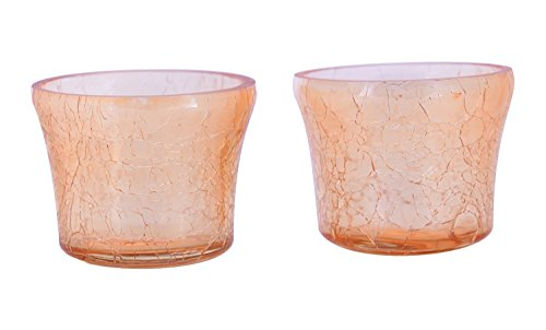 Gold Candle Holders Tealight Votive Evening Decoration Set of 2 MystiqueDecors Crackled Finish Gift