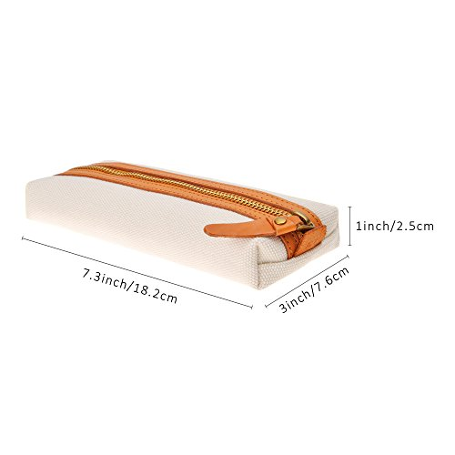 Slim Canvas Pencil Pouch Pen Bag Stationery case Gadget Bag Small Storage Bag(Beige) by ZLYC (Image #4)