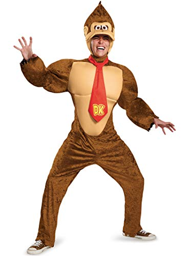 Disguise Men's Super Mario Donkey Kong Deluxe Costume, Brown, X-Large (Donkey Kong Country 2 Rom Snes Espanol)