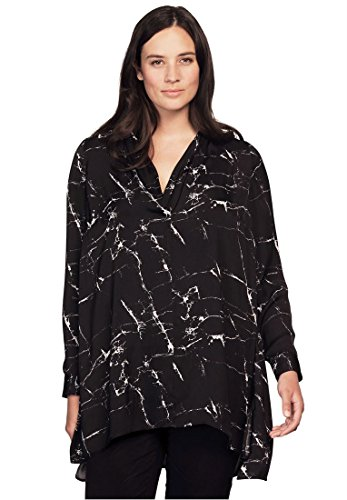 Bargain Catalog Outlet Ellos Plus Size Drape Neck Sateen Tunic (Black White - Ellos Outlet
