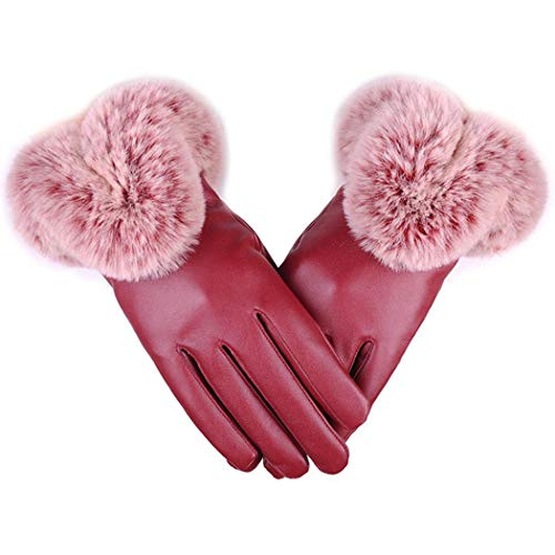 GuGio Womens Winter Gloves, Touchscreen Soft PU Leather Warm Lined Gloves