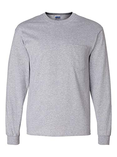 Gildan mens Ultra Cotton 6 oz. Long-Sleeve Pocket T-Shirt(G241)-SPORT GREY-L by Gildan