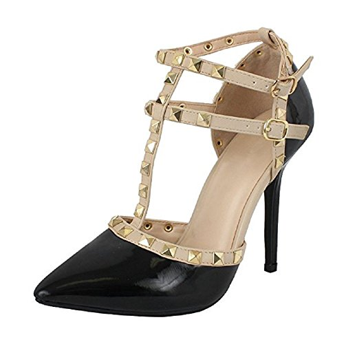 Womens Ankle T-Strap Stiletto Heel Pump Sandal Pointy Toe Gold Stud Strappy Dress Summer Wedding Shoes Black Pat 8.5 (Sandal Toe Strap Stud)